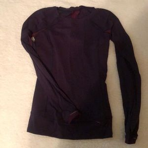 Lululemon Rulu long sleeve blue & burgundy sz 2
